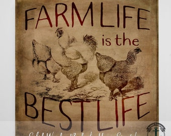 Wood Sign: Farm Life is the Best Life - Product Sizes and Pricing via Dropdown Menu