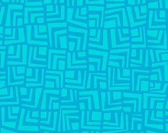 Turquoise Tone on Tone Abstract Squares from Andover Fabric's Improv Collection by Carol Van Zandt