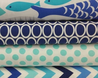 Blue Mod Fish Bundle from Michael Miller - 4 Fabrics