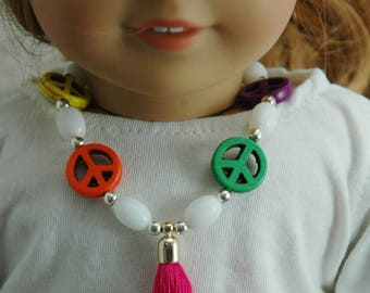 Doll, necklace, made in , American, girl, jewelry, 18 inch doll, peace sign, accessories, 6