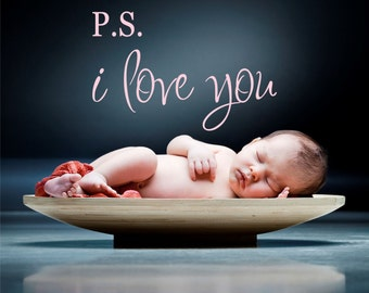 P.S. I Love You Quote Wall Decal // Love Quote // Wall Decal // Bedroom Decor // Wall Decal // Vinyl Lettering // Wedding Gift // Love Art