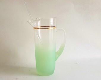 Vintage West Virgina Blendo  Martini Pitcher Frosted Pastel Green Glass Cocktail Mixer Original Glass Spoon Mixer Glass Cocktail Shaker