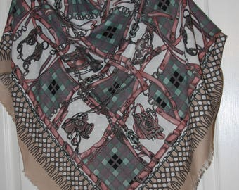 "Berkshire Vintage Shawl Wrap - Pale Colors Pink Green - Equestrian Motif  43 x 45"""