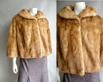 50s LIght Brown Mink Short Opera Coat Jacket - L