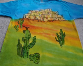 Pueblos, cactus, bird on cactus, man's large t-shirt, silk screened, dyed and handpainted details, turquoise, yellow, orange, and greens