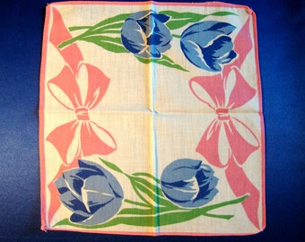 SALE Bright tulip and bows hankie hanky handkerchief pink and blue