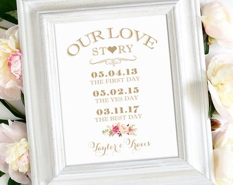 Our Love Story Wedding Sign | Various Sizes | Personalized | Vintage | Antique Gold | I Create and You Print