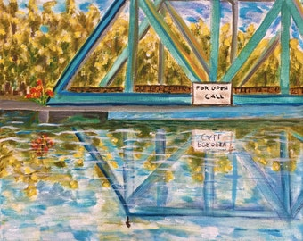 Milton Florida Drawbridge over Blackwater River acrylic painting