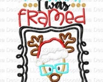 But Santa, i was framed!  - Holiday applique shirt - Christmas shirt - applique design -monogram shirt - Christmas