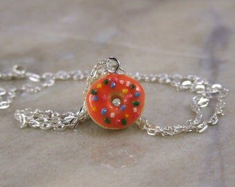Miniature Frosted Dounut Polymer Clay Necklace