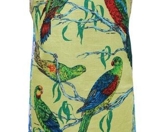 Metro Retro 'Australian Parrots Birds'  Vintage Tea Towel HANDMADE Apron -  Birthday Gift  - OOAK