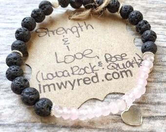 Strength - Love - Heart Bracelet - Healing Jewelry - Lava Rock Bracelet - Rose Quartz Bracelet - Yoga Bracelet - Diffuser Bracelet