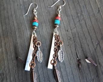 Feather Earrings Turquoise Earrings Red Earrings Mixed Metal Earrings Southwestern Earrings New Mexico Arizona Long Earrings Boho Ethnic