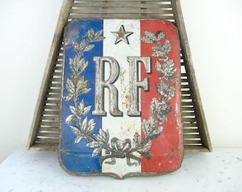 Vintage French Metal Sign French Flag Holder French Flag Holder Sign Vintage French Industrial Sign
