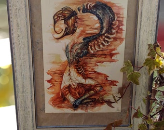 "watercolor ""the diyng siren"" framed"