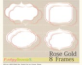 ON SALE Rose gold digital frame clip art,Rose Gold Label , Pink gold Tags Clip Art , digital scrapbooking frames gold A-05, party supplies