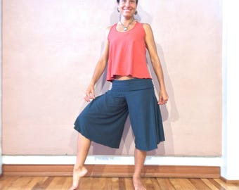 Organic capri wide leg flowy yoga dance pants stretch hemp option
