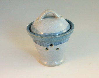 Garlic Keeper - Blue jar - pottery