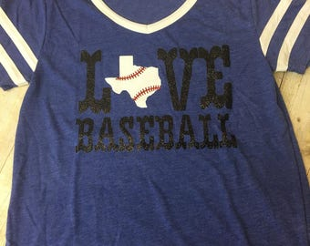 Love Baseball Raglan Shirt glitter