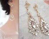 Gold crystal earrings, Leaf, Marquise cut gold earrings, Gold crystal statement earrings, Gold wedding earrings~ Gold chandelier earrings