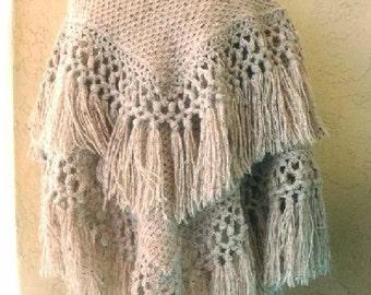 "Heavy oatmeal color Natural Homespun Wool Shawl / Afghan Throw  56"" x 52"""