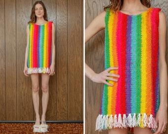 Vintage 60s 70s Rainbow Festival Loop Crochet Knit Hippie Scoop Neck Sleeveless Tank Top Stripe Striped LBGTQ Mini Shift Dress S M L