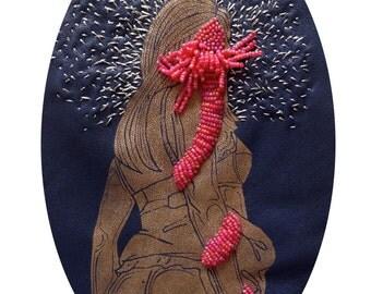 cadre reliquaire bombé vintage linogravure inspiration érotique imprimé sur cuir à l'encre à l'huile et rebrodée  , Thérèse
