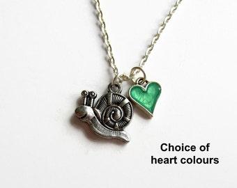 Snail Necklace, Snail Charm Necklace, Snail Jewellery, Girls Necklace, Charm Jewelry, Snail Gift, Animal Jewelry, Fun Gift, Kids Necklace