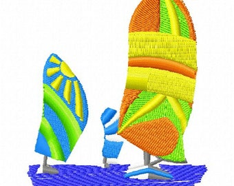 Sailboats Embroidery Design - Instant Download