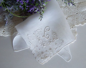 Wedding Handkerchief with L Monogram in Ivory, Antique Bridal Hanky for a Something Old Bridal Shower Gift with Floral Embroidery
