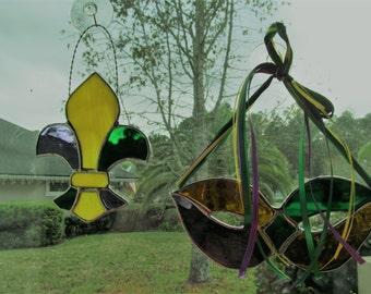 Fancy Fleur-de-Lis - Mardi Gras Stained Glass Suncatcher - Silver Finish - Carnival Decor - Fat Tuesday - New Orleans Saints - Paris