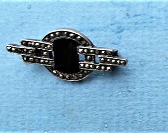 TINY MARCASITE ONYX Sterling Brooch. Only 39.90