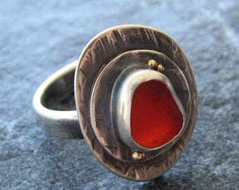Red Sea Glass Ring Size 8 Beach Glass Ring Jewelry