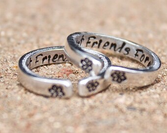 Best Friend Rings, Best Friends for Life, Best Friends Forever, Two Rings Adjustable Stackable Best Friend Rings, Two Rings for Best Friends