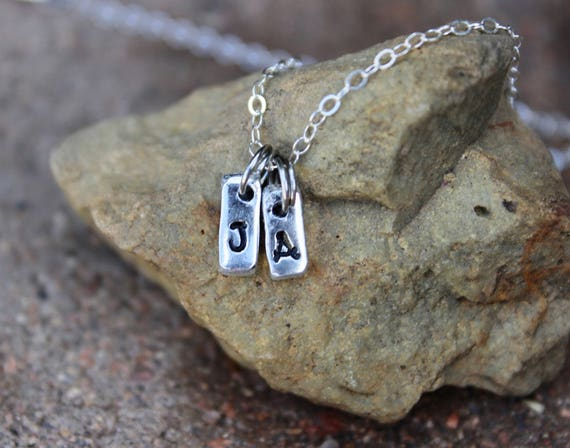 """Initial Charm Necklace / Gift for Mom / Gift for Sister / 16"""" Sterling Chain / Tiny Silver Initial Charm Necklace / Sterling Silver Chain"""