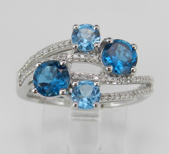 1.90 ct Diamond London Swiss Blue Topaz Cocktail Cluster Ring White Gold Size 7