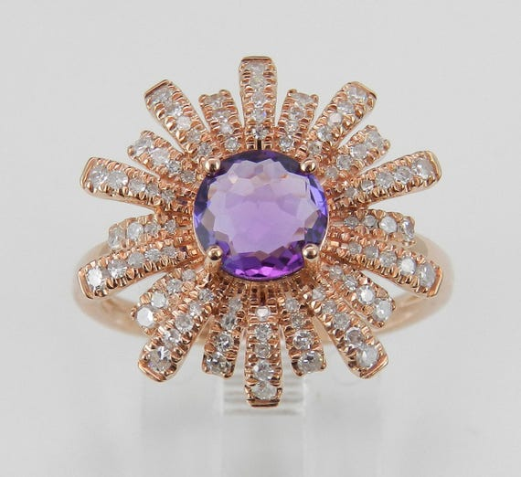 14K Rose Gold Diamond and Amethyst Flower Princess Cocktail Ring Size 7 February Gemstone