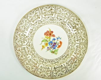 Edward M. Knowles Serving Plate, 22kt Gold Decorated Edge, Floral Transfer Design
