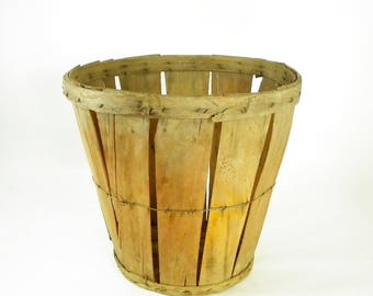 Rustic Orchard Basket, Split Wood BushelBasket, Farmhouse Decor