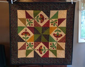 Posies Wall Quilt, Country Quilt, scrappy wall art quilt  0523-01
