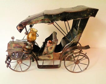 Vintage Copper Touring Car Collectible with Glass Kerosene Lamp