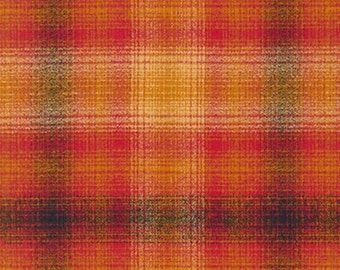Plaid - Flannel - Sunset Mammoth Flannel - Mustard - Gold - Red Black - Cotton - Robert Kaufman Fabrics - Fabric by the Yard - Yardage