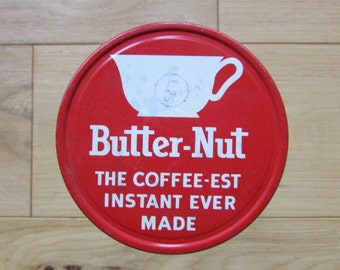 Vintage Butter-Nut Instant Coffee Glass Jar