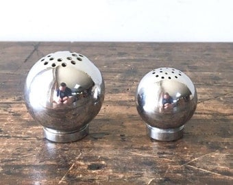 Vintage Russel Wright Style Chrome Salt and Pepper Orbs, Made in Japan