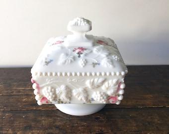 Vintage Westmoreland Hand Painted Floral Beaded Milk Glass Trinket Box W/ Lid