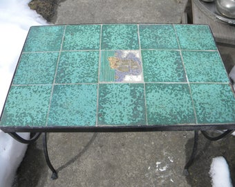 Great Shape Sturdy Strong Vintage 1950s Mid Century Green IRON Tile Top  SHIP TABLE
