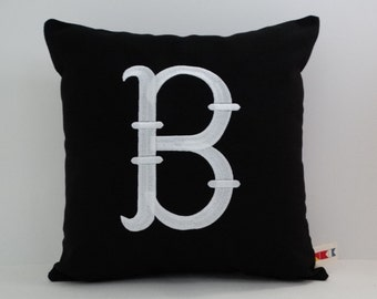 MONOGRAMMED INITIAL PILLOW cover|Sunbrella Indoor Outdoor Pillow|Embroidered Monogram Throw|Wedding Pillow|Engagement Gift|oba canvas co.