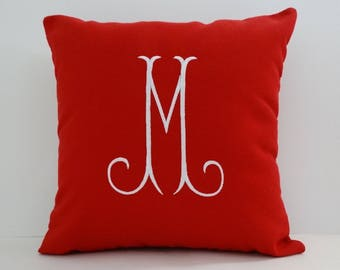 MONOGRAM PILLOW COVER  Sunbrella indoor outdoor embroidered monogram letter initial anniversary wedding gift dorm pillows oba canvas co.