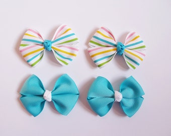 Candy Stripe Mini Hair Bows - Spring One Size Nylon Headbands - Small Pig Tail Bow Grosgrain Hair Clips - You Pick Color