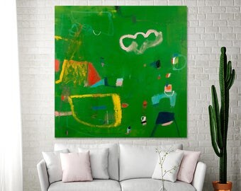 """Green Painting Large Abstract painting 36x36 Canvas Modern painting fun bold """"Playground 03"""" Modern Painting Ready to Hang by Duealberi"""